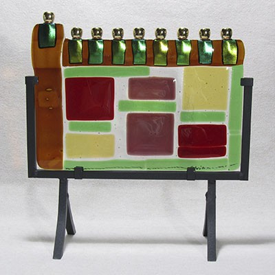 Fused Glass Menorah 102