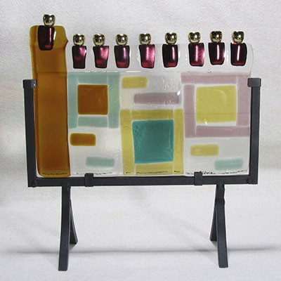Fused Glass Menorah 104