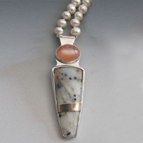 Moonstone, pearl and montana agate necklace