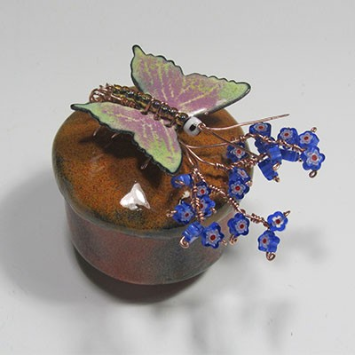 Vessel glass enamel with butterfly and forget me not flowers