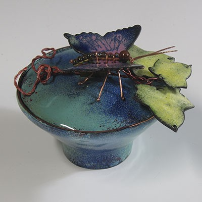 Glass enamel vessel blue with butterfly and leaves