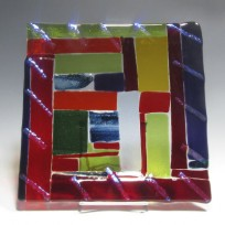 Fused glass Platter Multicolor 101